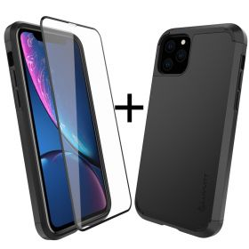 Luvvitt Ultra Armor Case and Tempered Glass Screen Protector Bundle for iPhone 11 Pro Max 2019 - Black