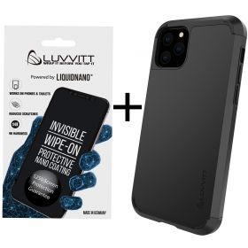 Luvvitt $250 Warranty ULTRA ARMOR Case + LiquidNano Glass Screen Protector Bundle for iPhone 11 Pro Max 2019 - Black