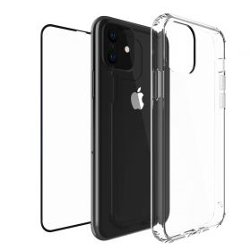 Luvvitt Clear View Case and Tempered Glass Screen Protector Bundle for iPhone 11 2019