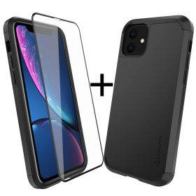 Luvvitt Ultra Armor Case and Tempered Glass Screen Protector Bundle for iPhone 11 2019 - Black