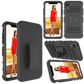 Luvvitt XTR Armor Case With Belt Clip Holster and Kickstand for iPhone XR 2018 6.1 inch Black