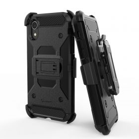 Luvvitt iPhone XR Armor Case With Belt Clip Holster and Kickstand 6.1 - Black