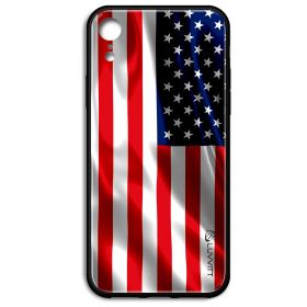 iPhone XR Case GLASS Back USA American Flag Back Cover - US United States of America