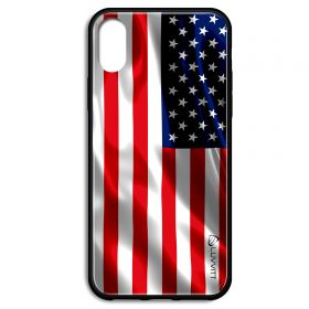 iPhone XS Case GLASS Back USA American Flag Back Cover - US United States of America