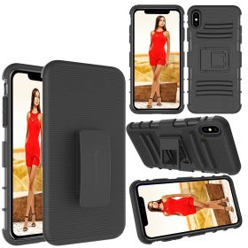 Luvvitt XTR Armor Case With Belt Clip Holster and Kickstand for iPhone XS Max 6.5 inch 2018