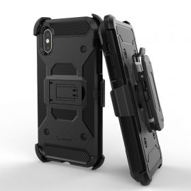 Luvvitt iPhone XS Max Armor Case With Belt Clip Holster and Kickstand 6.5 Black