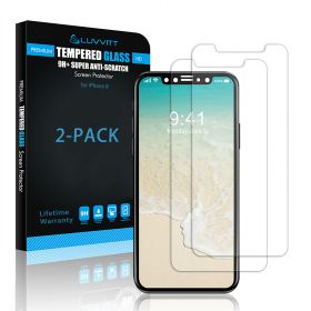 Luvvitt 2 Pack Tempered Glass Screen Protector  for iPhone X / XS - Crystal Clear