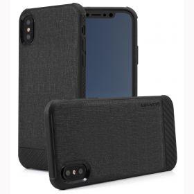Luvvitt Sleek Armor Case with Fabric for iPhone X / XS - Black / Carbon Fiber