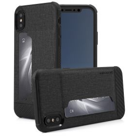 Luvvitt Gabbana Wallet Case with Fabric for iPhone XS / X - Black / Carbon Fiber