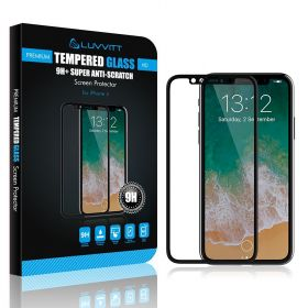 Luvvitt Tempered Glass Screen Protector 3D Case Friendly for iPhone X / XS - Black