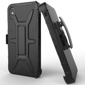 Luvvitt NCY iPhone XR Armor Case With Belt Clip Holster and Kickstand 6.1 2018 Black